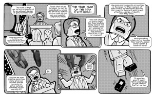 In Magic Bullet #6, Matt Dembecki melds NRA text with Lego figures to comment on the national gun debate.