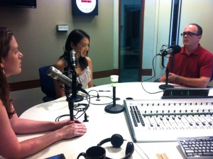 It's All Journalism Producer Megan Cloherty, left, interviews Elise Hu and Matt Stiles of NPR. (Photo by Michael O'Connell)