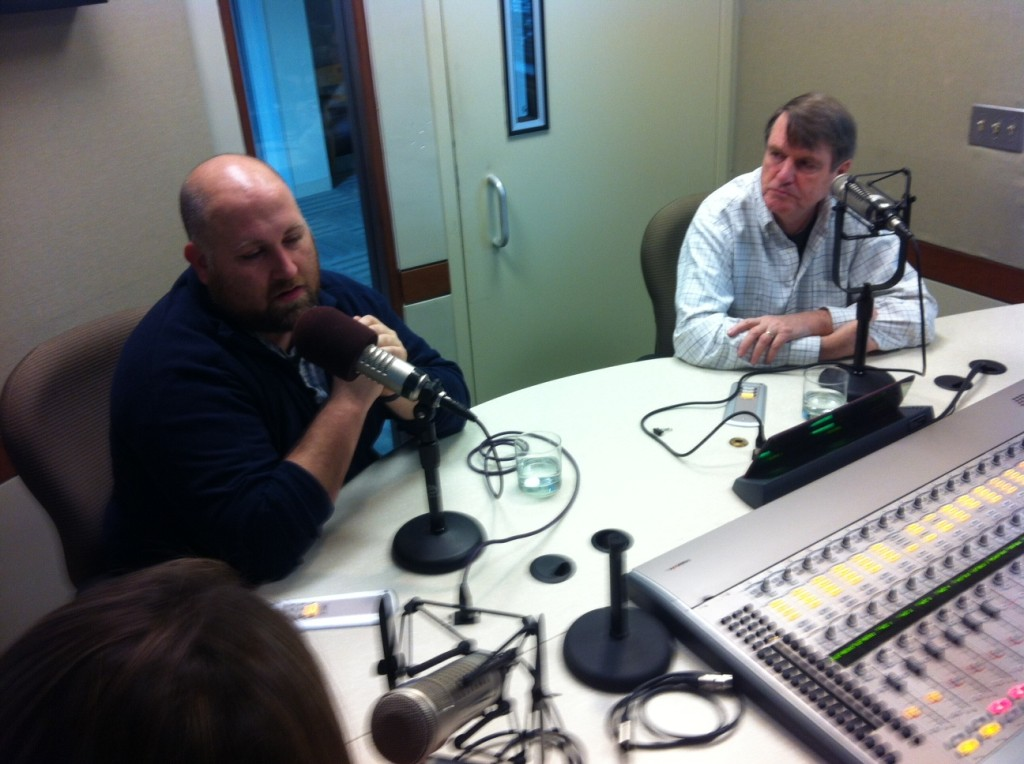 From left, Chad Garland and Len Downie Jr. talk to It's All Journalism about the News21 project: Back Home — The Enduring Battles Facing Post 9/11Veterans.