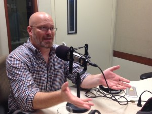 NPR's Glen Weldon joined IAJ producers Megan Cloherty and Michael O'Connell in studio. (Photo by Megan Cloherty)