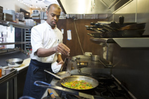 The subject of KPCC's Make Al Care campaign, Chef Al Gordon, is the founder of Community in Los Feliz. Like the majority of voters in Los Angeles, he doesn't come out for local elections. (Photo by Maya Sugarman/KPCC)