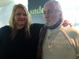 Richard Saul Wurman and Kris Viesselman present at keynote conversation during the 2015 Society for News Design's annual workshop in Washington, D.C. (Photo by Michael O'Connell)