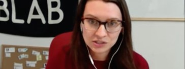 Hannah Russell-Goodson, community manager, Blab. (Screenshot by Michael O'Connell)