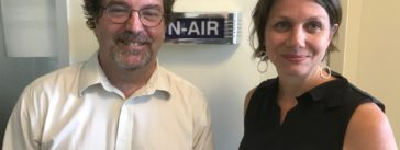 Robert Hone, acting director of the American University Game Lab Studio, and Maggie Farley, a professional fellow with the Journalism and Leadership Transformation (JoLT) program at AU.