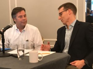 Washington Post reporter David Fahrenthold, right, talks to Politico media critic Jack Shafer before the start of their panel at the Association of Alternative Newsmedia's annual conference in Washington, D.C.