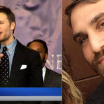 Michael Telek and a screenshot of his joke about Tom Brady.